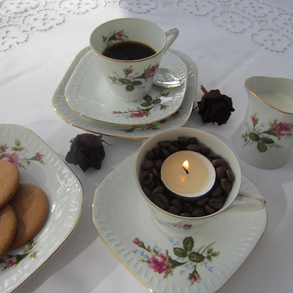 Teamécses dekorácó - kávé