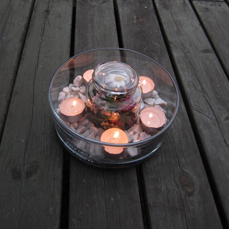 Teamécses dekoráció - üvegtál virág kavics