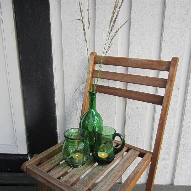 Teamécses dekoráció - zöld üvegek