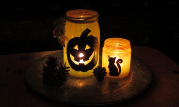 Halloween lámpás befőttes üvegből