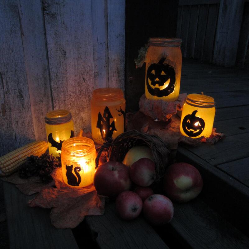 Halloween ötlet lámpás beföttes üvegböl
