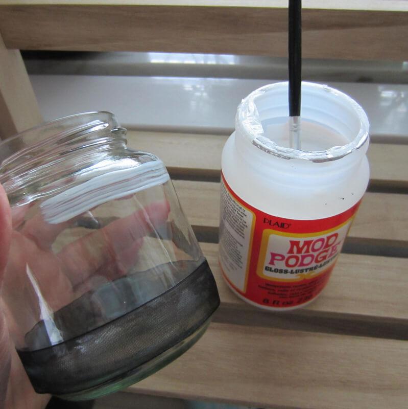 Organza szalag üvegre ragasztása