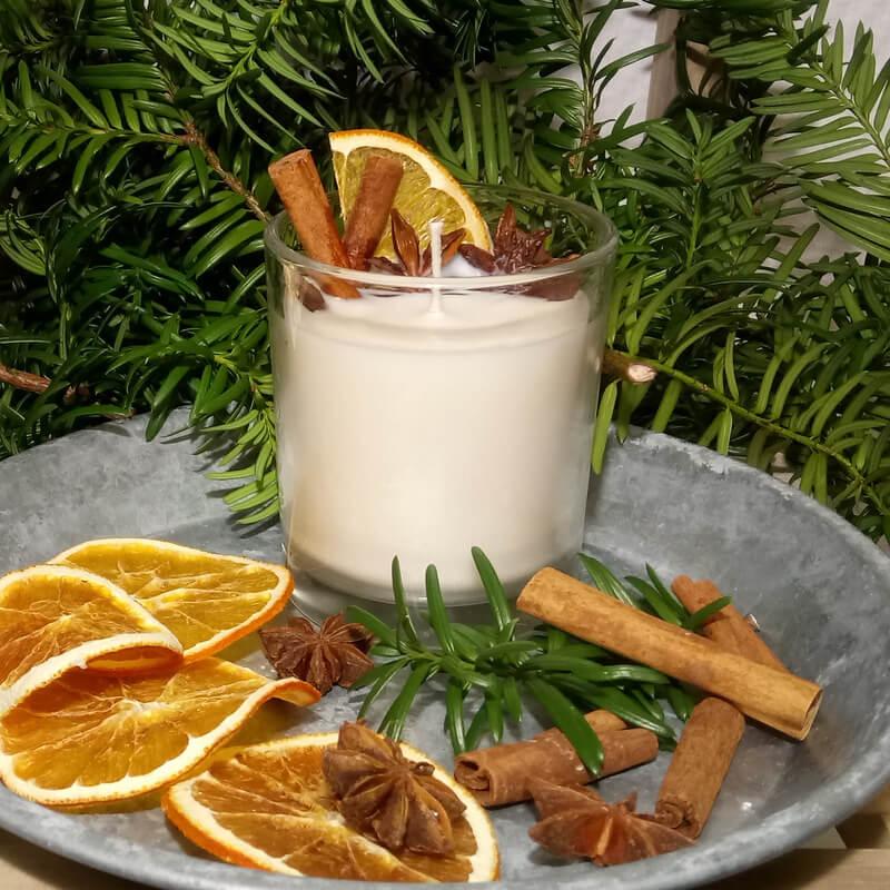 Karácsonyi gyertya fahéj csillagánizs narancs
