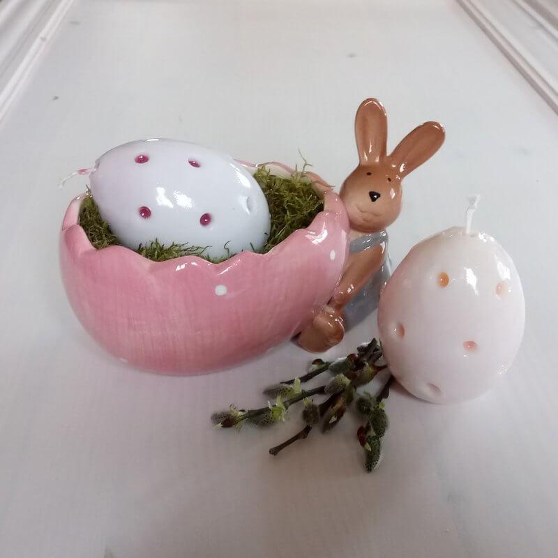 Faragott gyertyás húsvéti asztaldísz