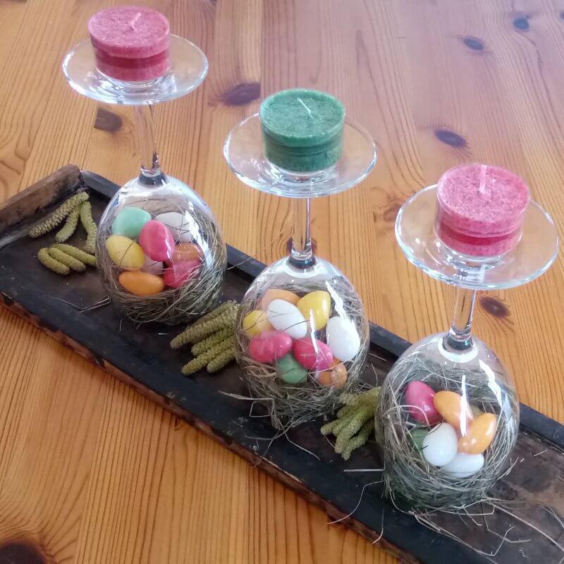 Húsvéti poharas dekoráció teamécsessel