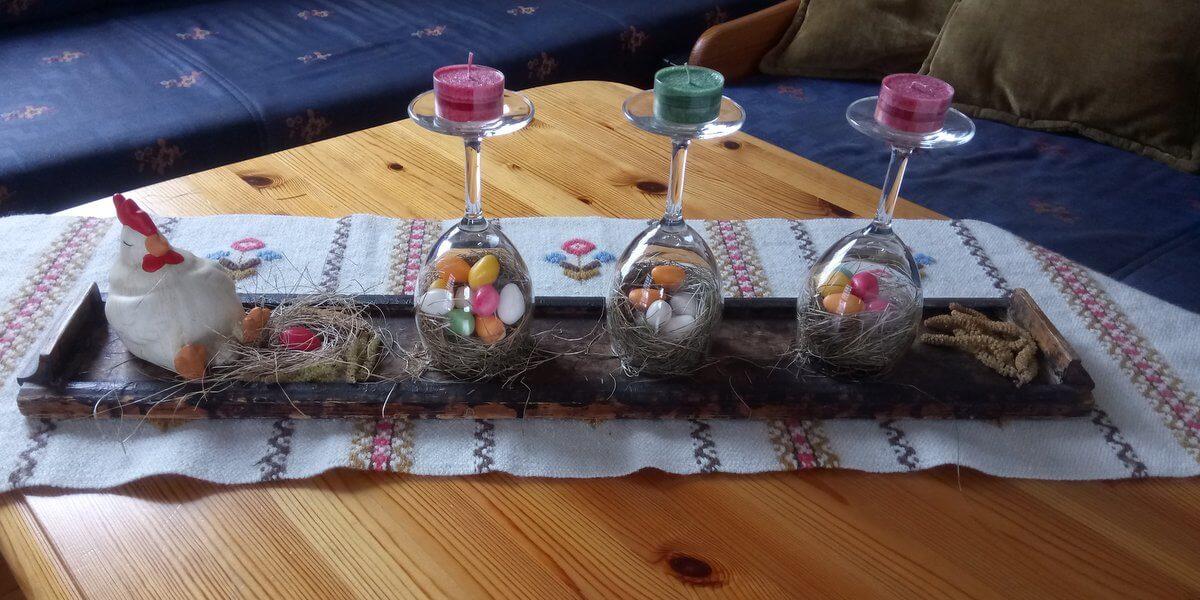 Poharas dekoráció a húsvéti asztalra